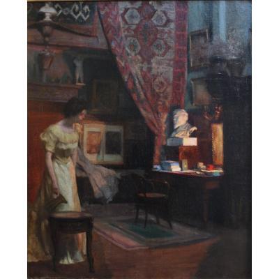 Scène d'intérieur intimiste XIXè