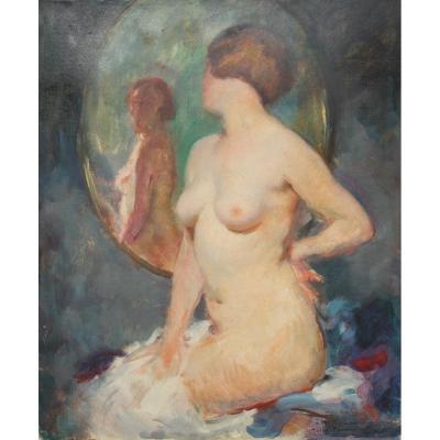 Julien Tavernier (1879-c.1938) - Nu de femme au miroir