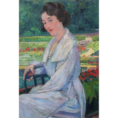 Suzanne Drouet-Reveillaud  (Cordier) (1885-1970) - Femme au jardin