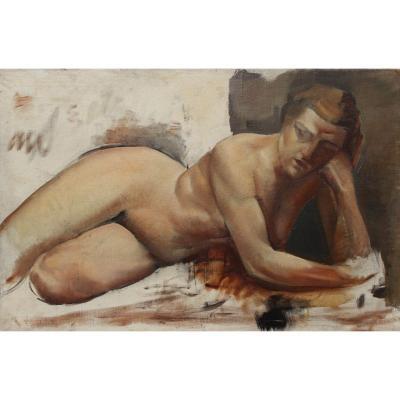 Ficquelmont XXè  art-déco- Nu de femme à l'atelier