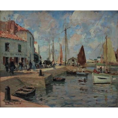 Paul Emile LECOMTE (1877-1950)-Ile d'Yeu,Port Joinville,pêcheurs.