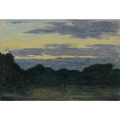 Etude de paysage début XXè - aurore ou crépuscule_2