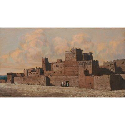 Pierre Labrouche (1876-1956) - Maroc, ville fortifiée,casbah