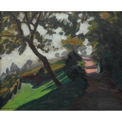 Jules Flandrin (1871-1947) - Parc vallonné avec 2 personnages