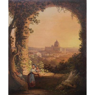 Saint-Pierre de Rome vue de la Villa Borghèse vers 1850