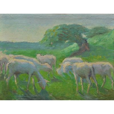 Raymond Thibésart (1874-1968), agneaux dans un paysage