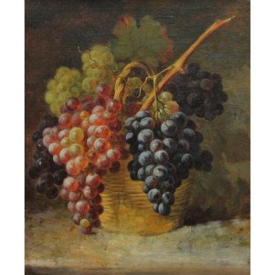 Panier de raisins. Ecole XIXè, Tours