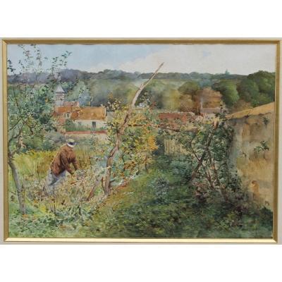 In The Garden - Large Watercolor By Francis Garat, XIXth