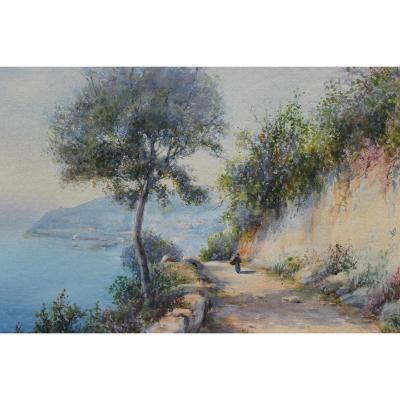 Côte d'Azur, route sur la corniche - J. Ambroise (1858-?)