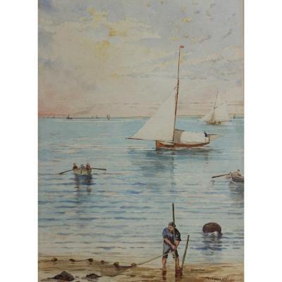 Francis Garat né en 1870 ou 1853 - Bassin d'Arcachon, plage animée