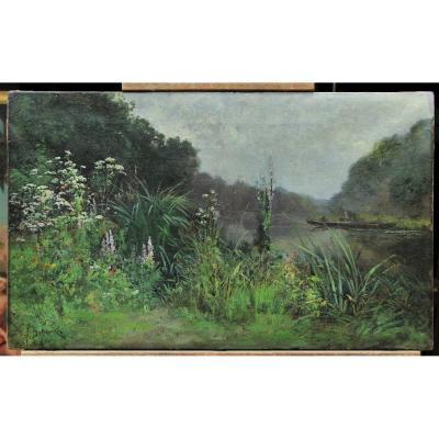 Alexandre DEFAUX (1826-1900) - Bord de rivière fleuri