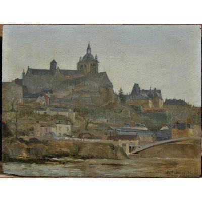 Jean Laronze (1852-1937)-Vue de la ville du Mans en 1886