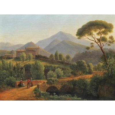 Ferdinand Perrot (1808-1841) - Landscape Of Italy With Musicians