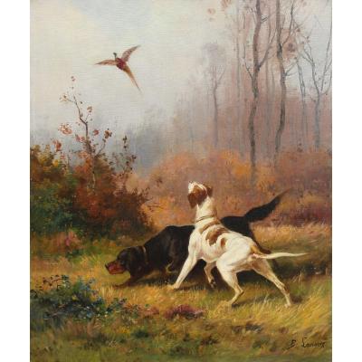 Deux chiens de chasse - B. Lanoux vers 1900