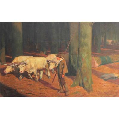 G. Jacquot Defrance (1874-1902) ? Grand tableau boeufs dans la forêt