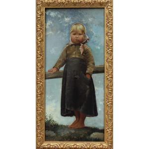 Portrait d'enfant blond - Ecole fin XIXè, signée