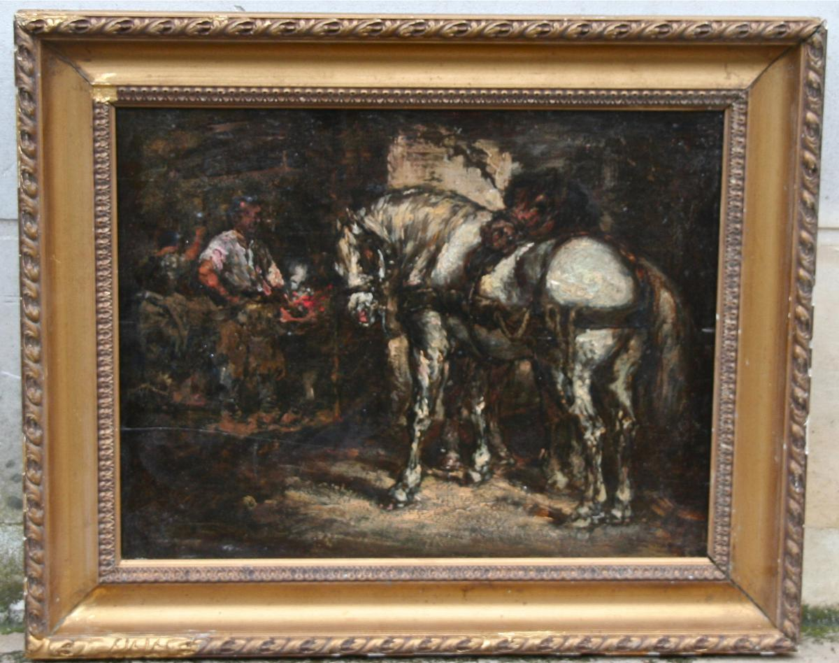 """""""the Farrier"""" Painting On Wood Anonime"""