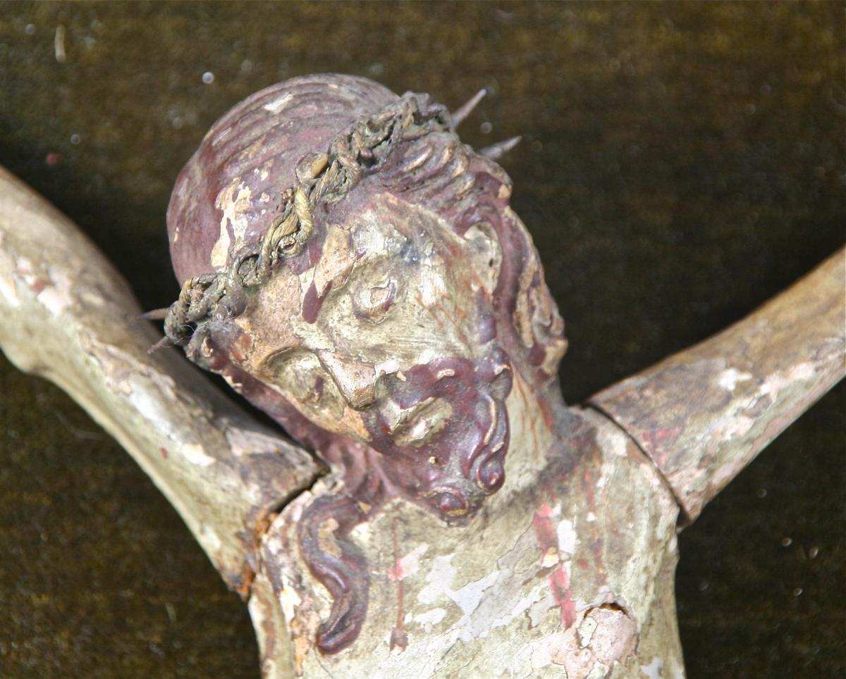 Christ XVIIIème En Bois Polychrome