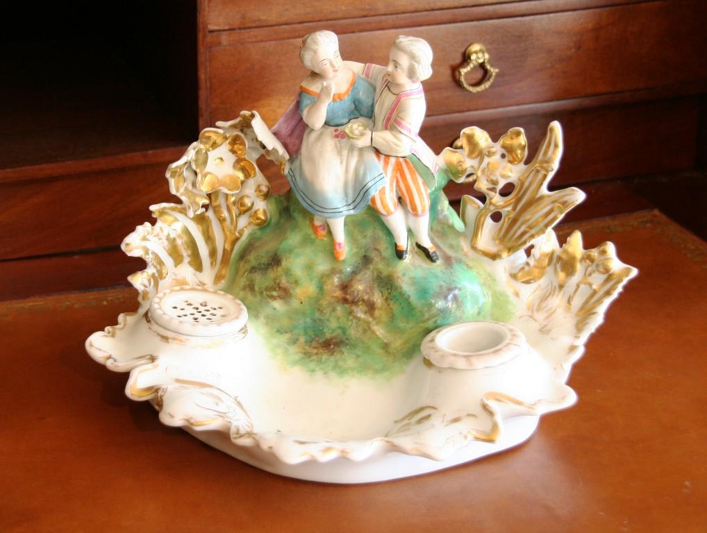 Encrier Porcelaine XIXème
