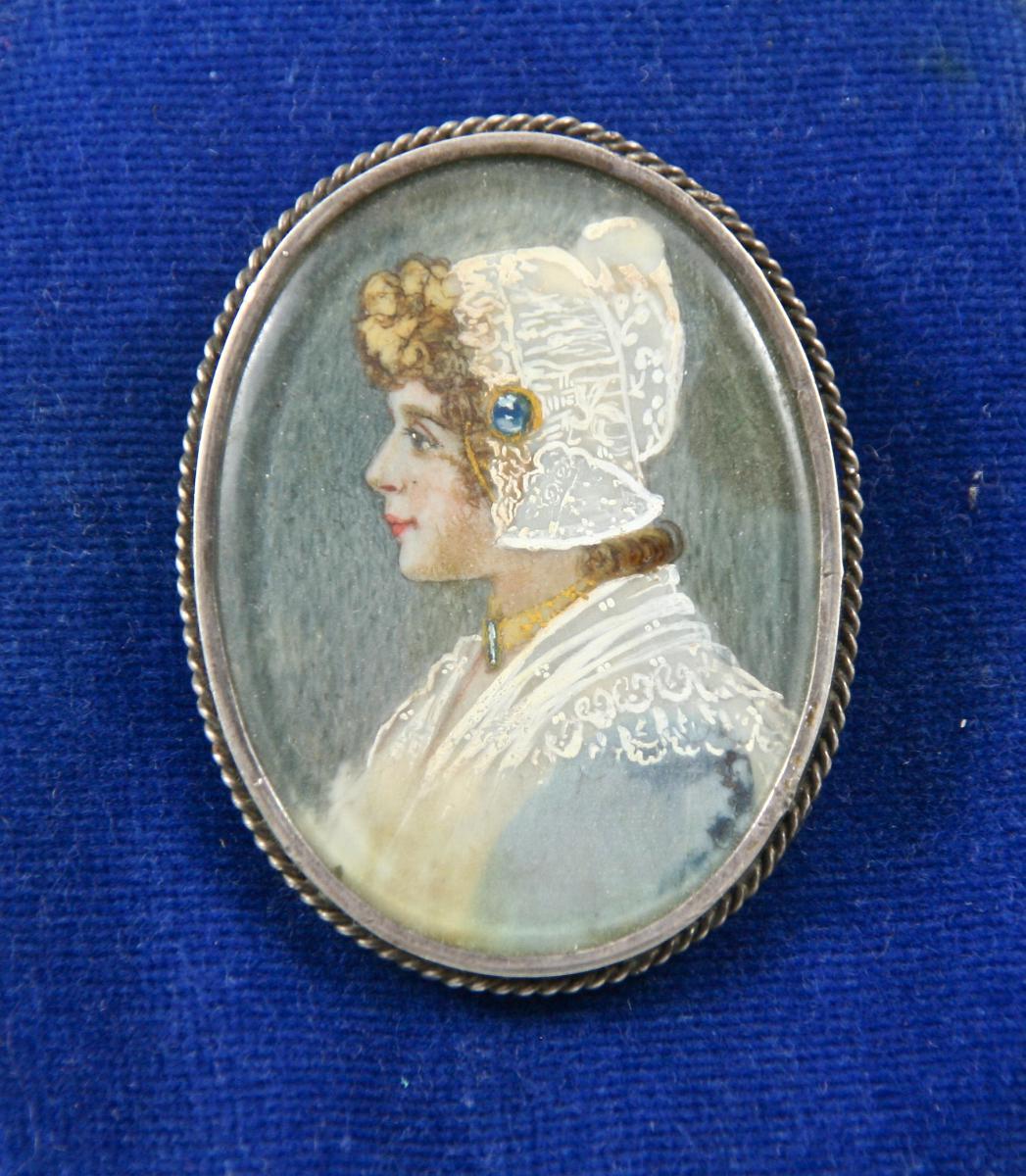 Broche XIXème En Argent Avec Miniature Sur Ivoire