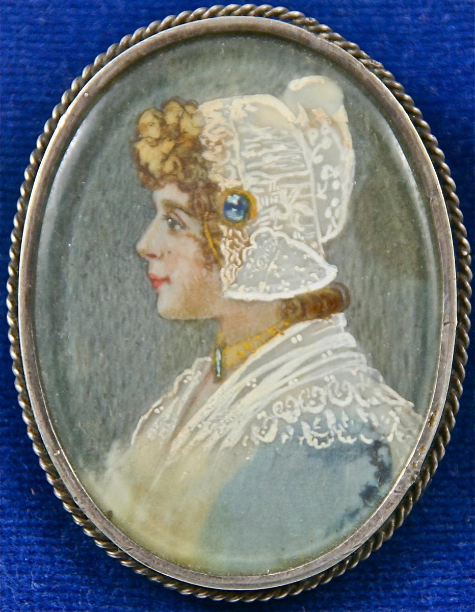 Broche XIXème En Argent Avec Miniature Sur Ivoire-photo-2