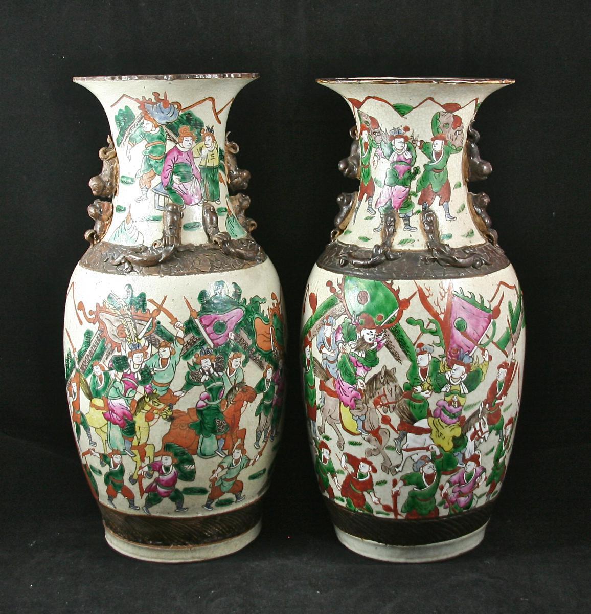 Pair Of Porcelain Vases, Canton XIX-photo-2