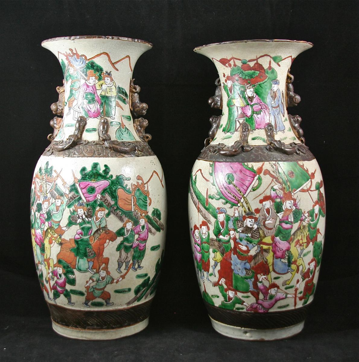 Pair Of Porcelain Vases, Canton XIX-photo-1