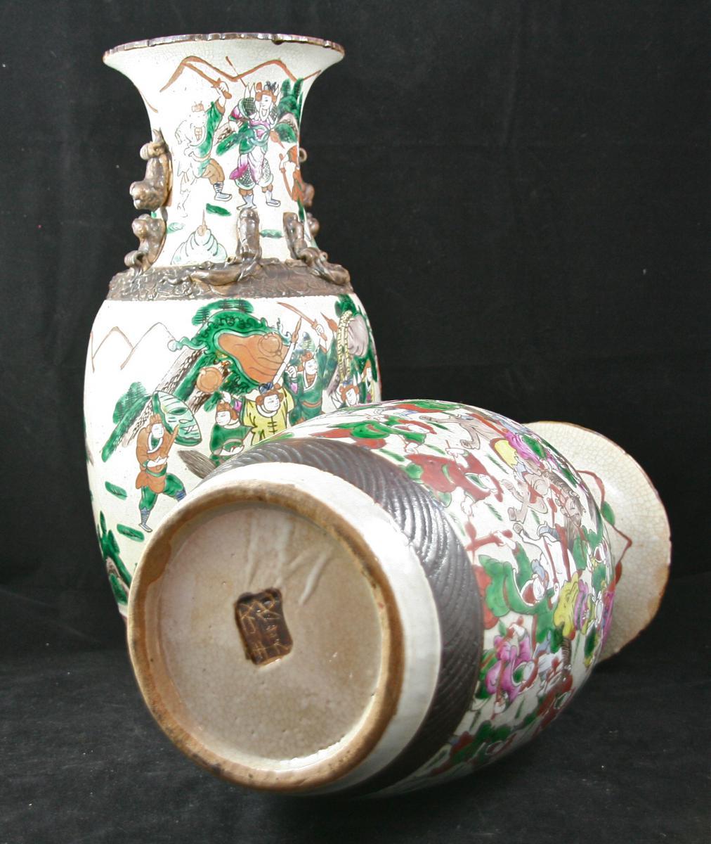 Pair Of Porcelain Vases, Canton XIX-photo-4