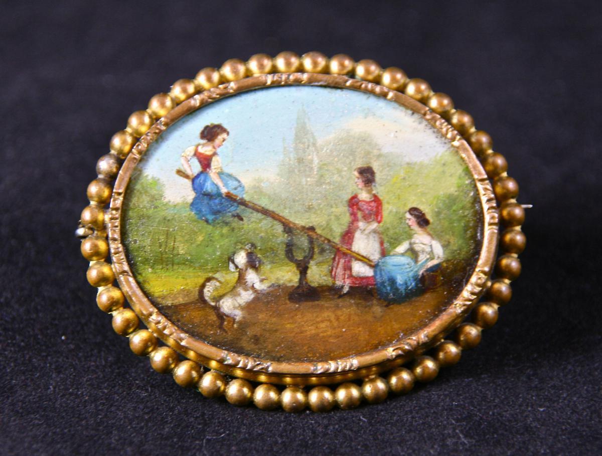 Broche XIXème En Tôle Peinte avec Une Miniature
