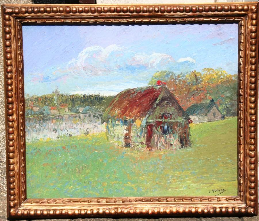 """Huile Sur Carton """"paysage"""" d'Edouard Febvre"""