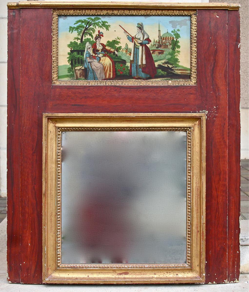Trumeau XIXème Peint Ornementé d'Un Fixé Sous Verre