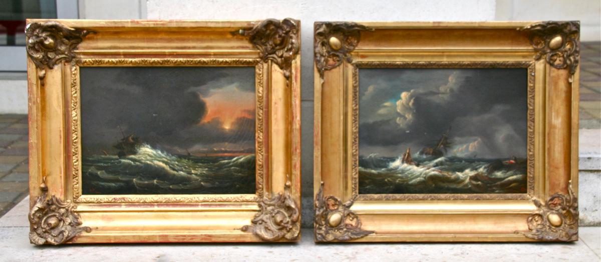 """Paire De Peintures XIXème """"marine Et  Naufrage"""" De Clémentine De Bar"""