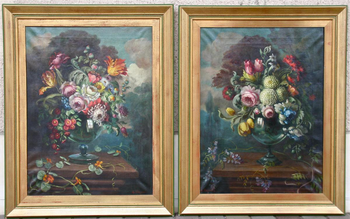 """Paire De Nature Morte XXème"""" Bouquet De Fleurs"""""""