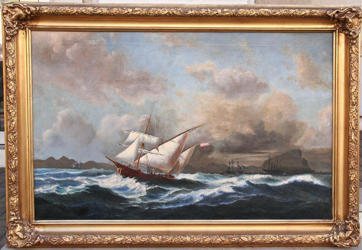"""Huile Sur Toile XIXème """"le Détroit De Gibraltar"""""""