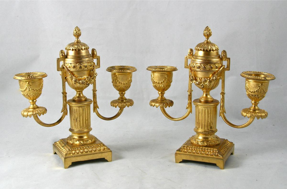Pair Of Candlesticks Louis XVI Gilt Bronze