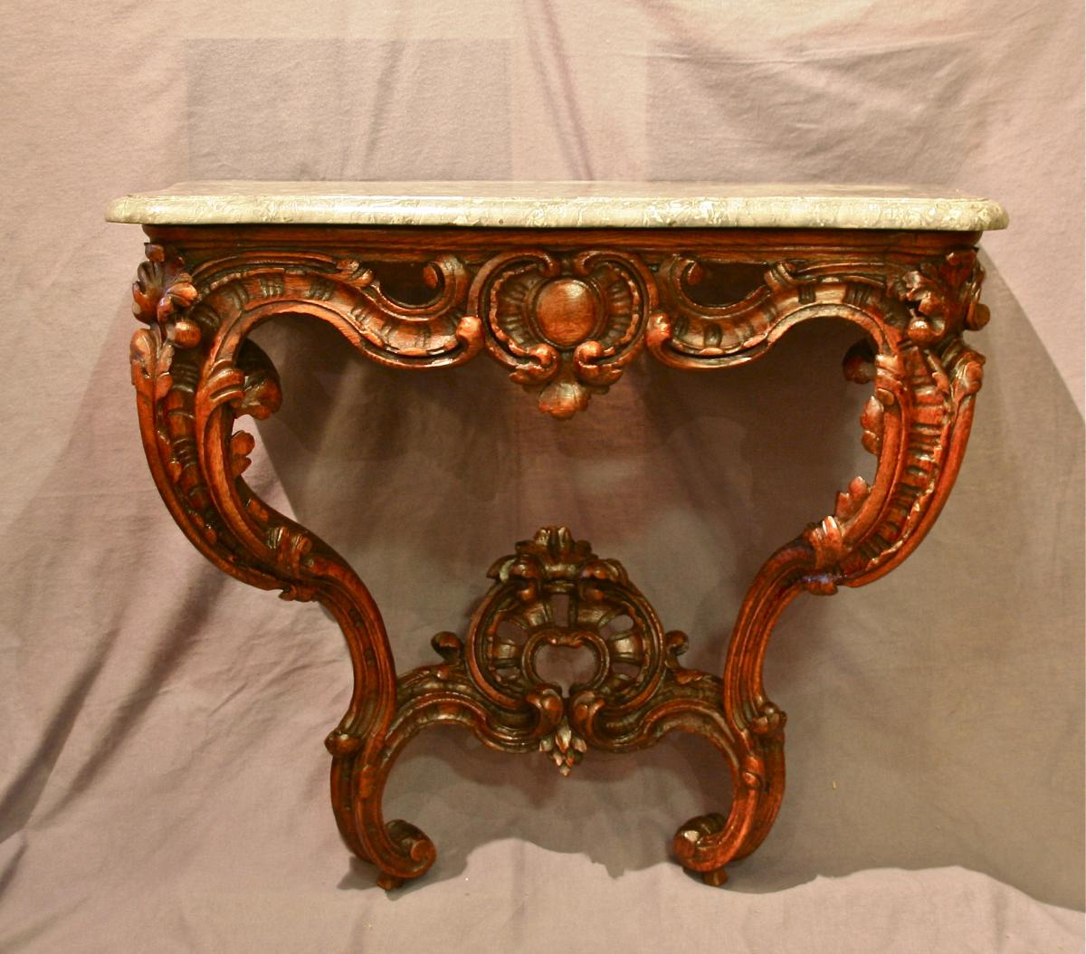 Console d'Applique Louis XV, XVIIIème En Chêne