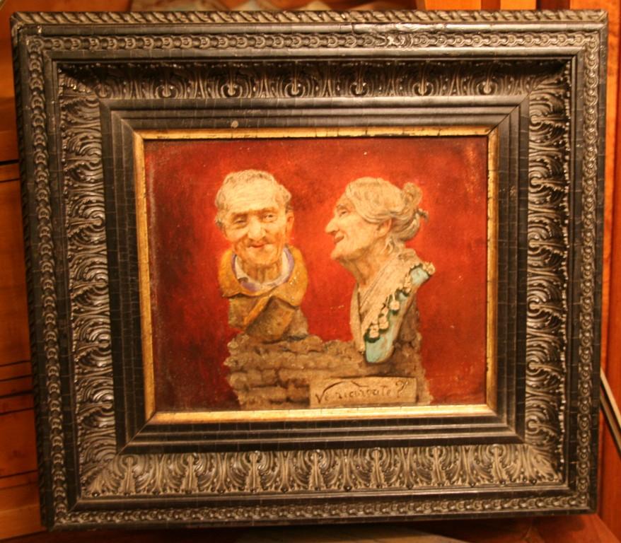 """Huile Sur Panneau """" Portraits d'Ancètres"""""""