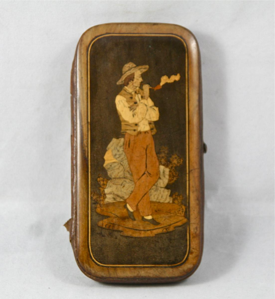 Cigarettes Case Nineteenth Inlaid Wood