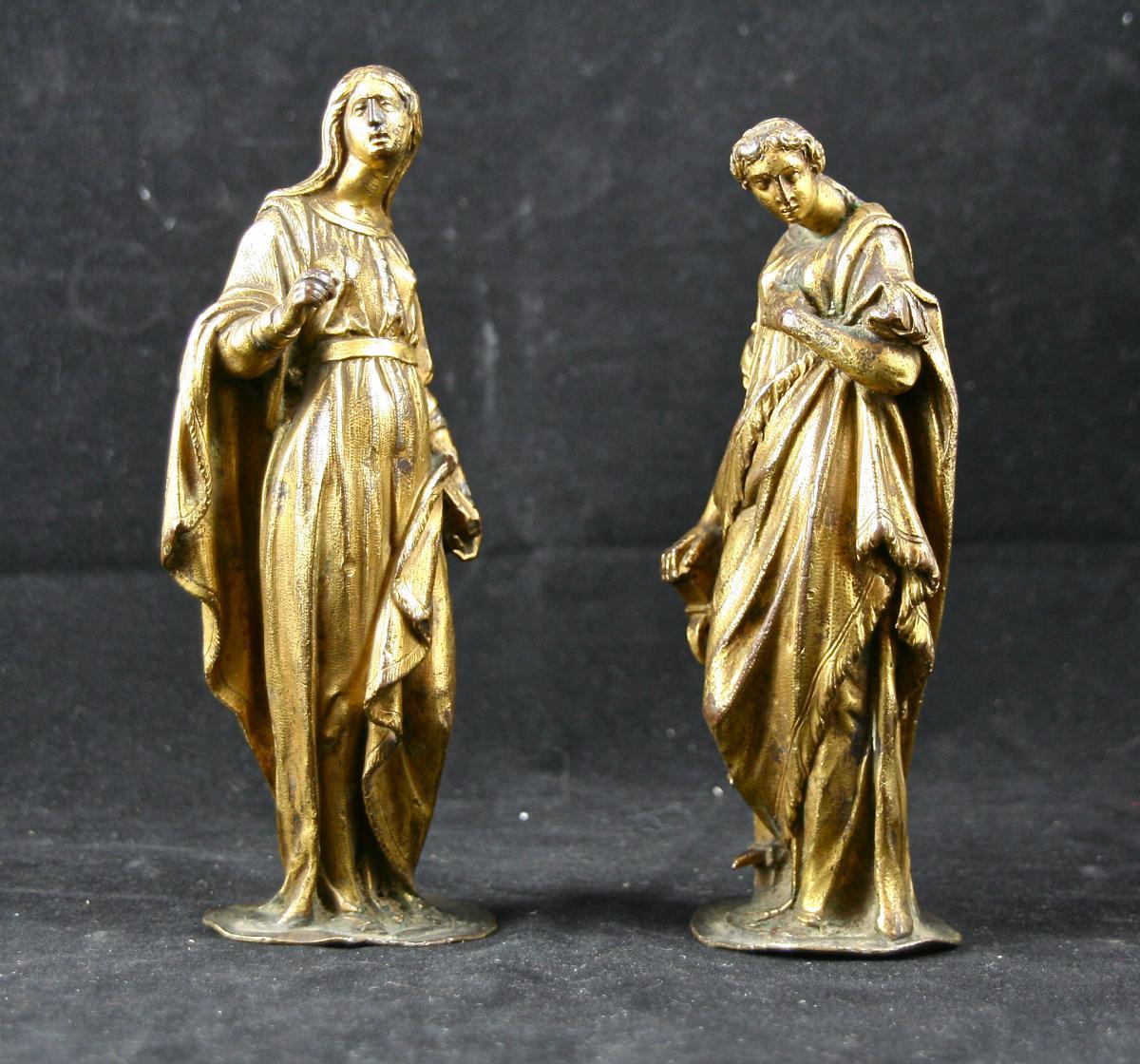 Paire de statuettes en bronze doré d'époque XVIème