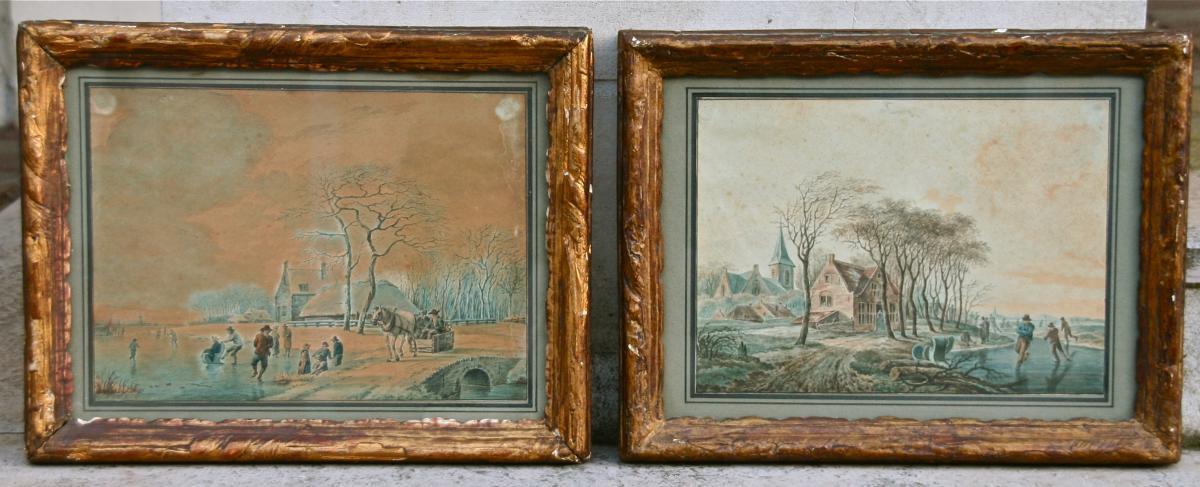 Paire d'aquarelles, Hollandaises XIXème