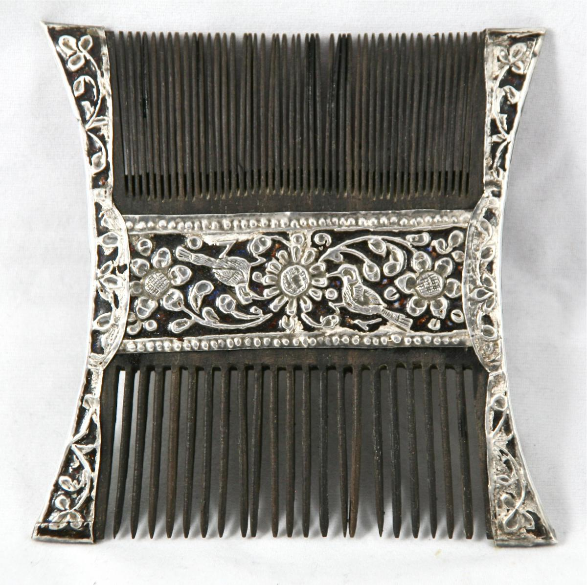 Double Nineteenth Indian Comb In Nickel Silver