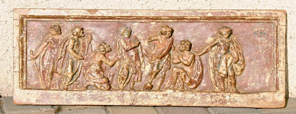Panneau De Bois Sculpté Polychrome XVIIème