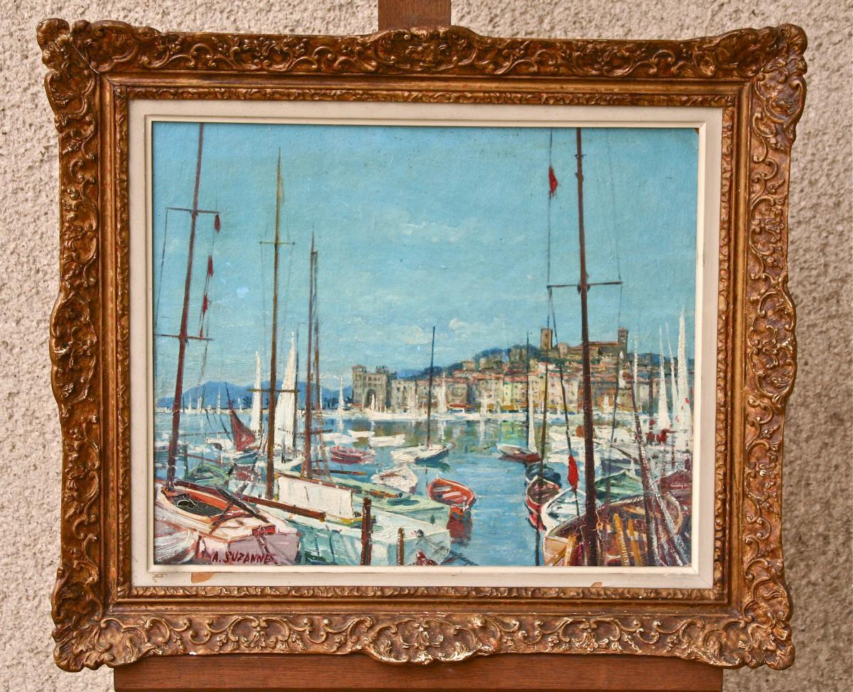 Peinture Du Port d'Antibes Par André Suzanne