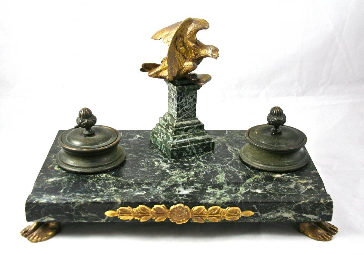 Encrier d'époque Empire XIXème En Marbre Et Bronze Doré