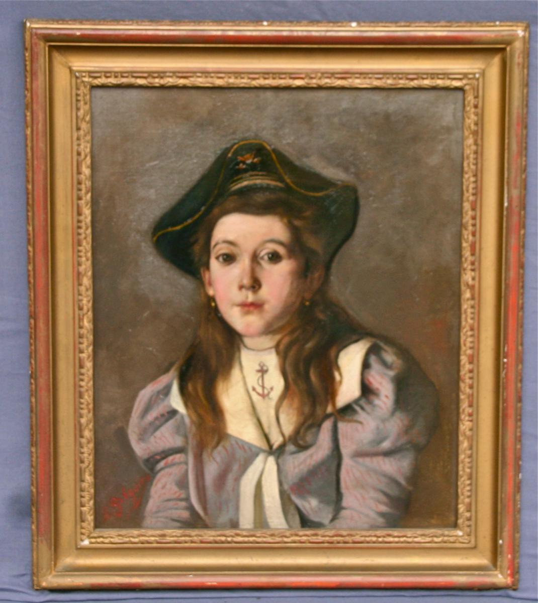 "Oil On Canvas XIXth ""young Girl In Marinière"" School Belgian"