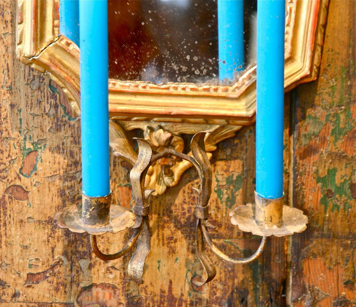 paire de miroir xviii me en bois dor avec porte lumi res miroirs. Black Bedroom Furniture Sets. Home Design Ideas