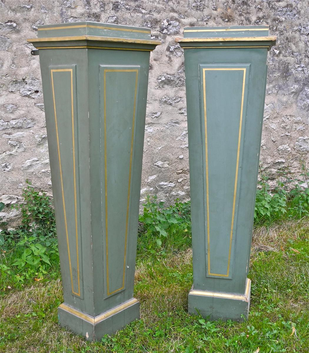 Pair Of Columns Sheaths XIXth Rechampie And Gilded