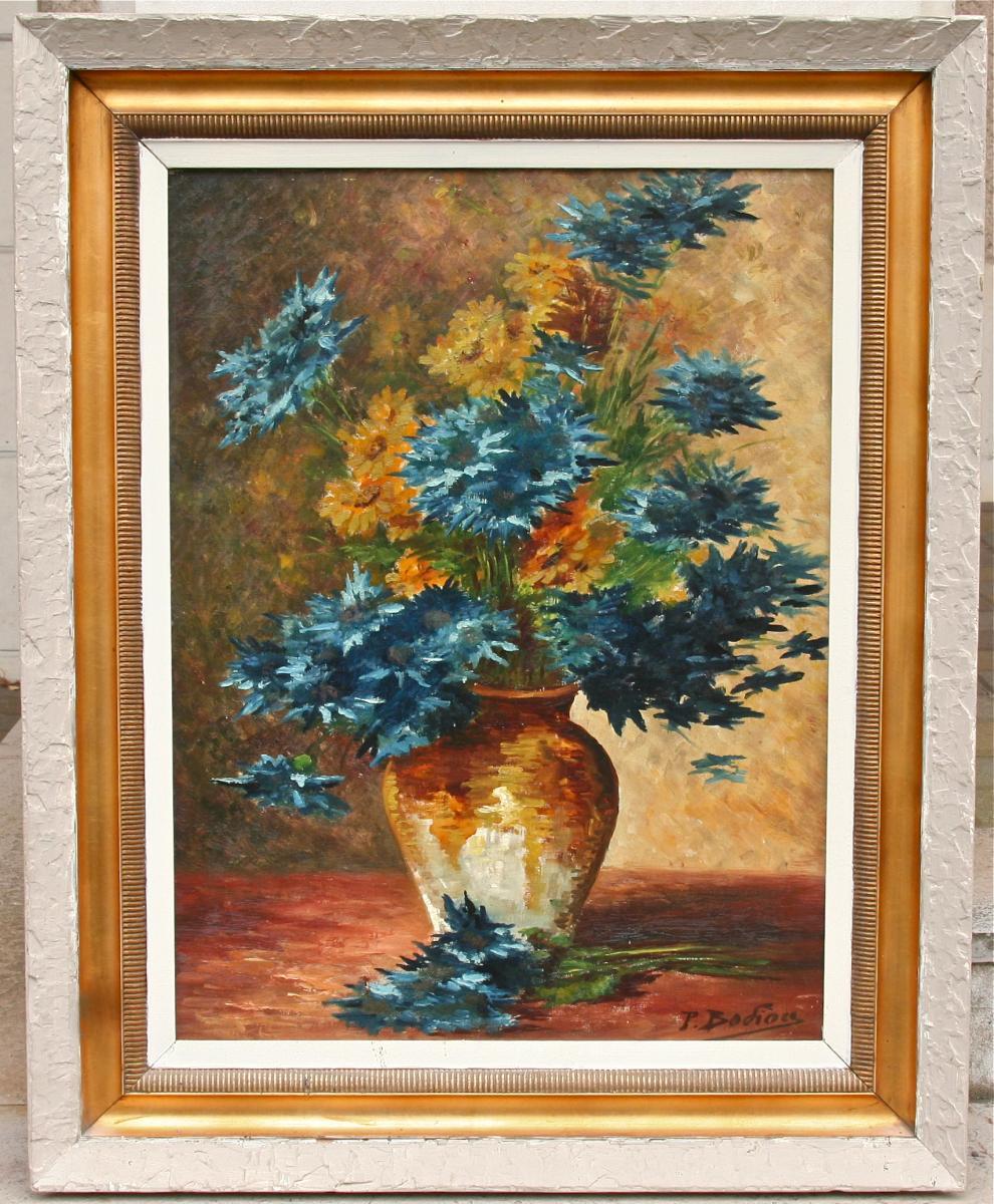 """Huile Sur Toile De """"les fleurs bleue"""" De P. Bodiou"""