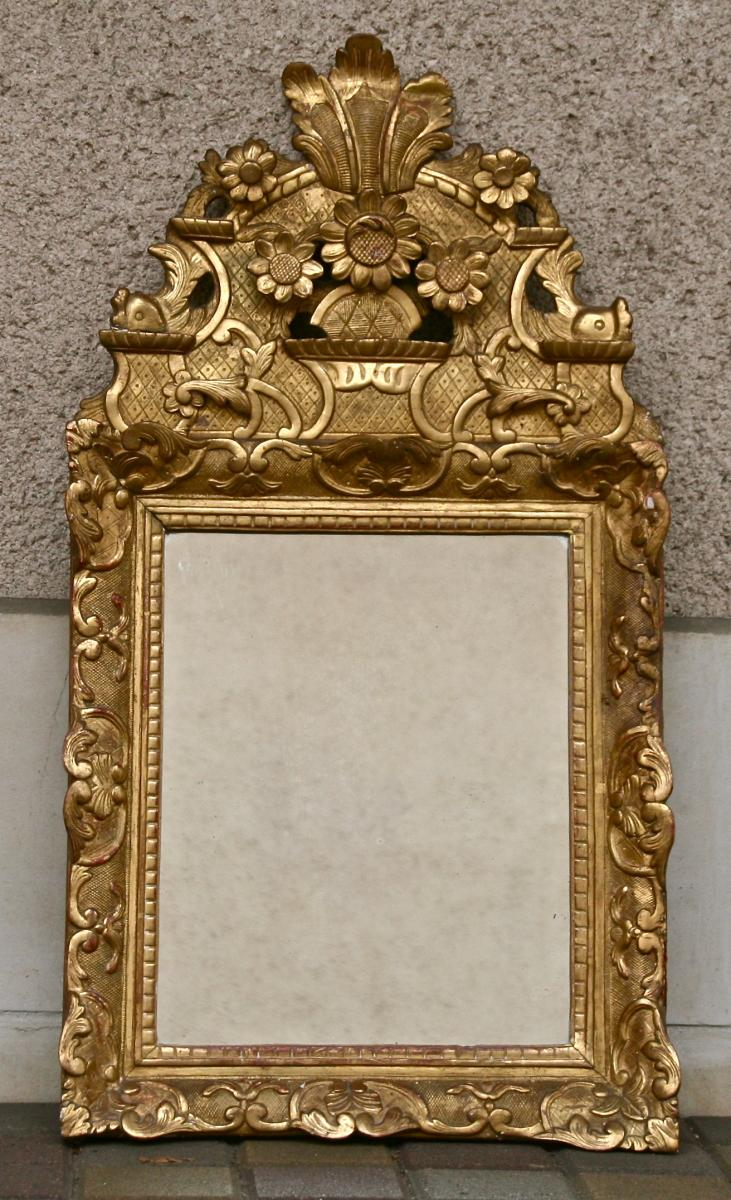 Miroir XVIIIème Louis XIV En Bois Doré à Fronton Ajouré