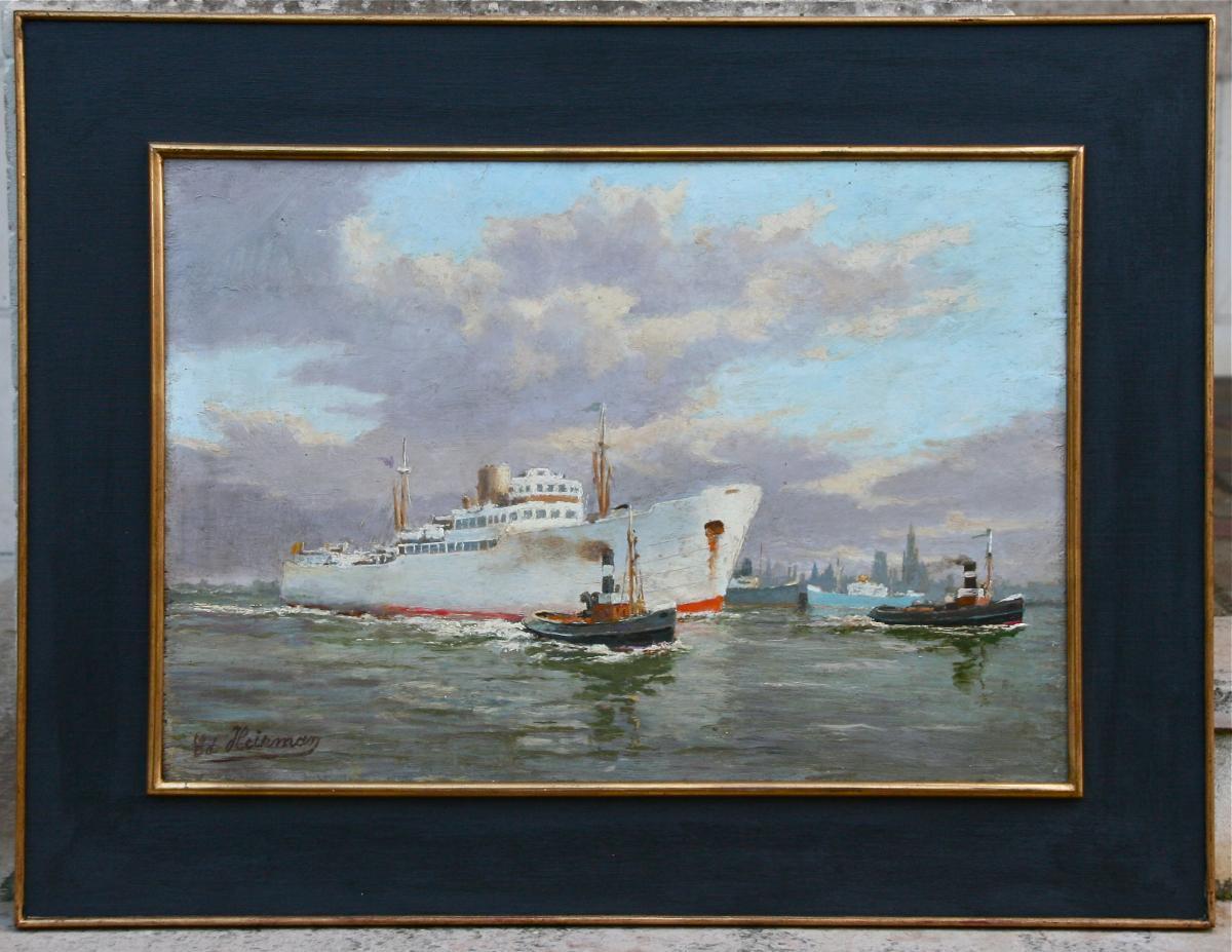 """Peinture Début XXème """"l'entrée Du Charleville Dans Le Port d'Anvers"""" Par Edmond Heirman"""